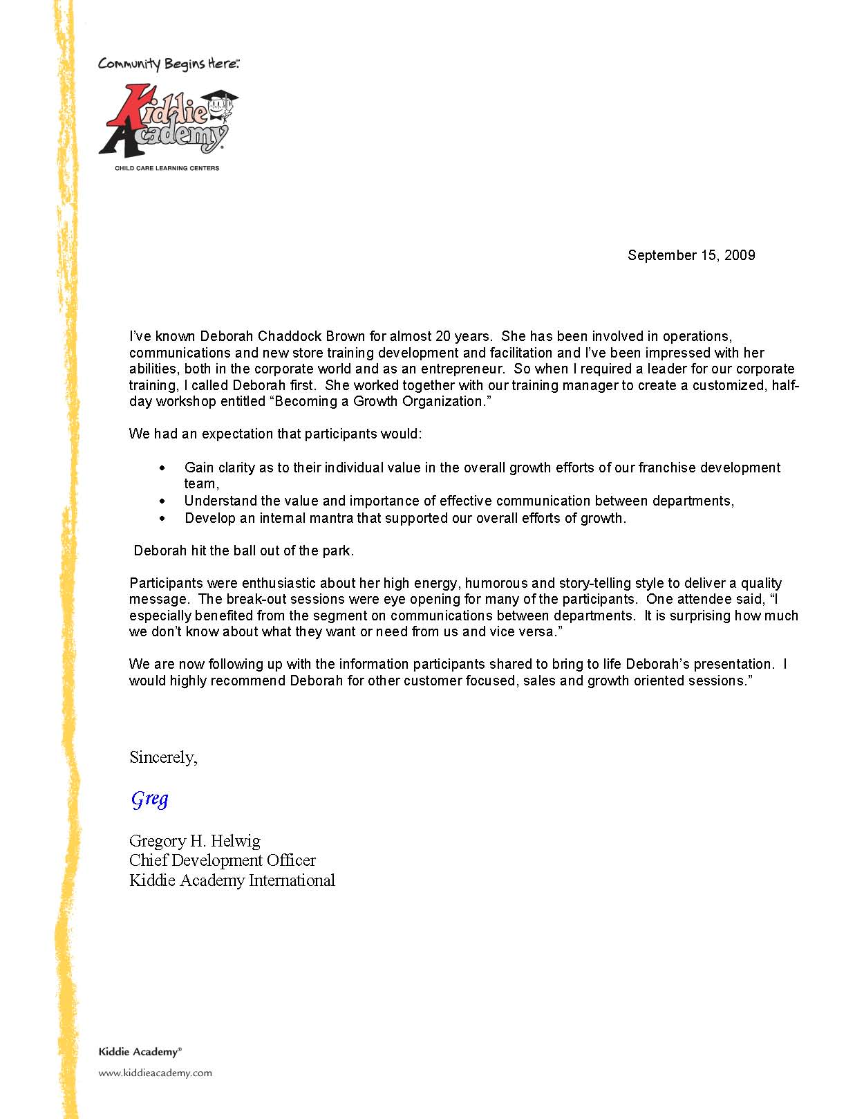 Sample of a Testimonial Letter